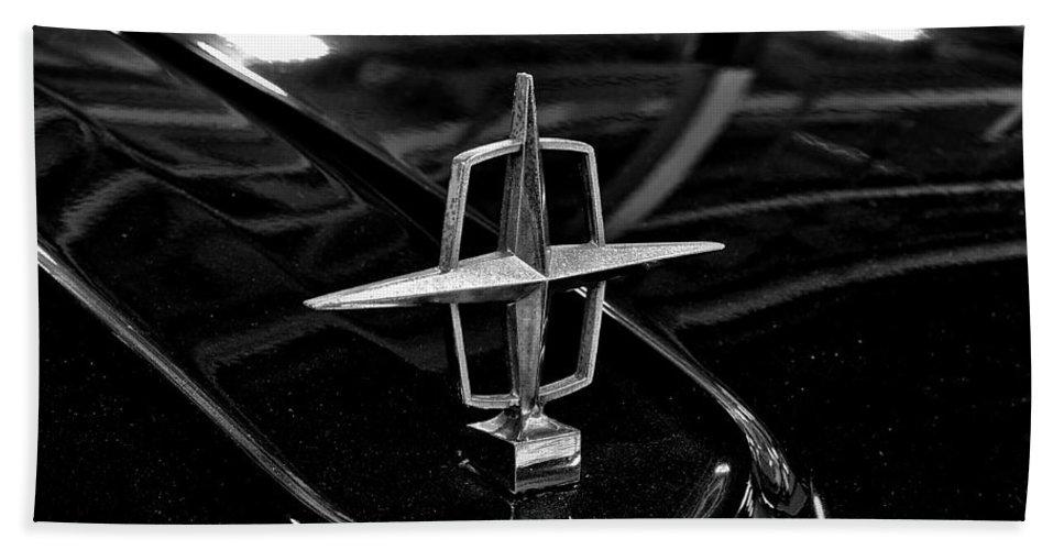 1958 Bath Sheet featuring the photograph 1958 Lincoln Continental Hood Ornament by Michael Gordon