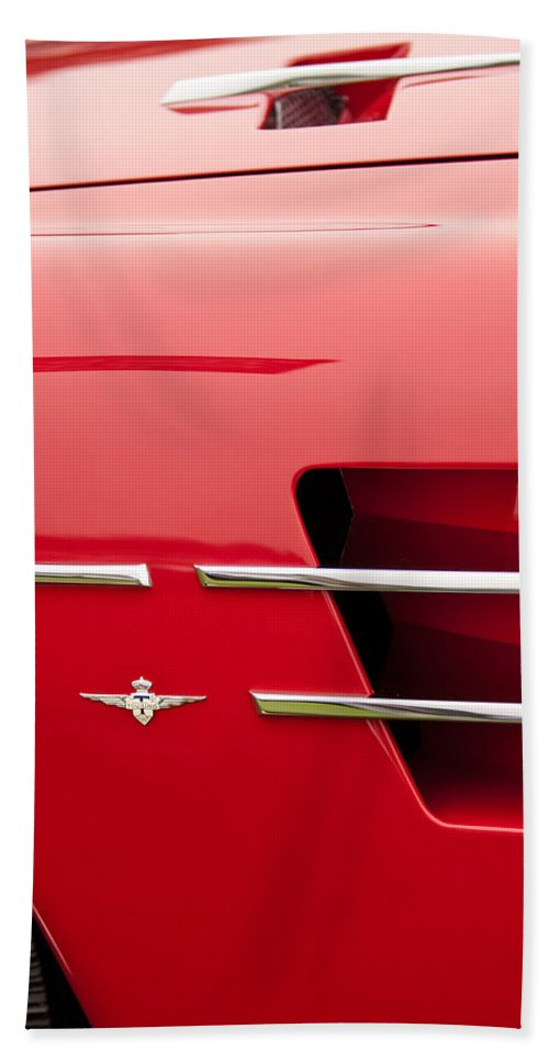 1958 Pegaso Z-103 Touring Berlinetta Side Emblem Hand Towel featuring the photograph 1958 Pegaso Z-103 Touring Berlinetta Side Emblem -1195c by Jill Reger