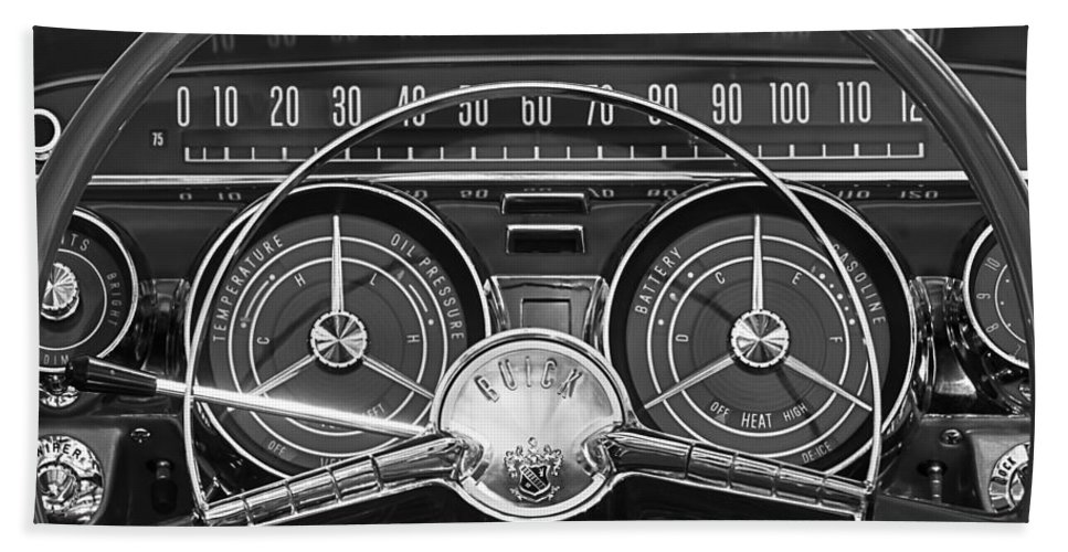 1959 Buick Lesabre Hand Towel featuring the photograph 1959 Buick Lasabre Steering Wheel by Jill Reger