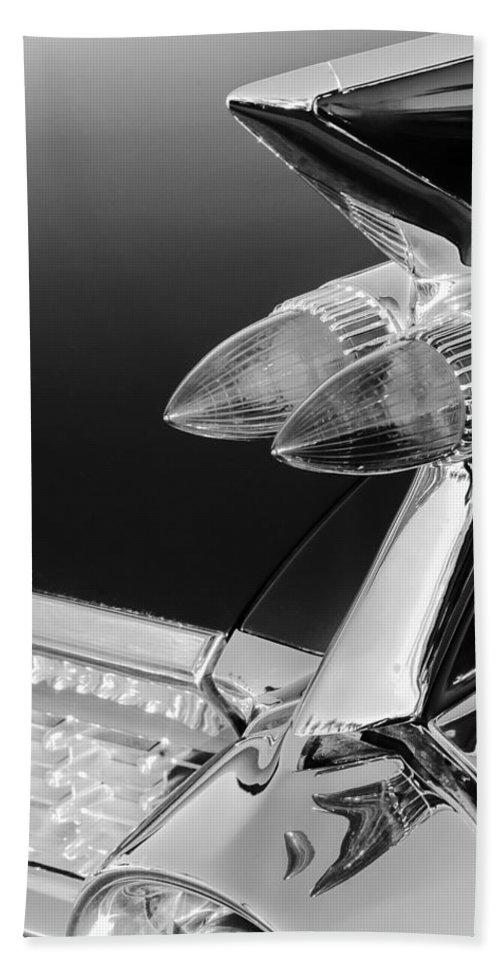 1959 Cadillac Eldorado Taillight Bath Sheet featuring the photograph 1959 Cadillac Eldorado Taillight -075bw by Jill Reger