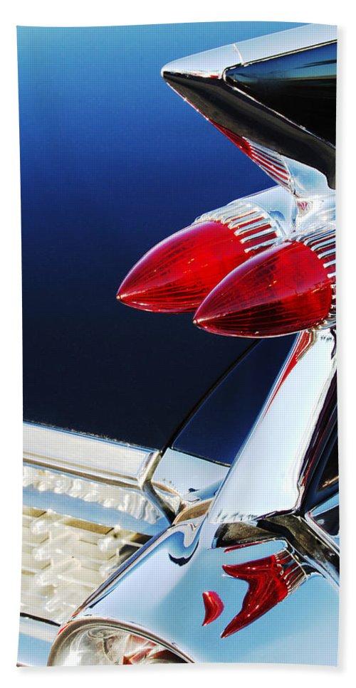 1959 Cadillac Eldorado Taillight Hand Towel featuring the photograph 1959 Cadillac Eldorado Taillight -075c by Jill Reger