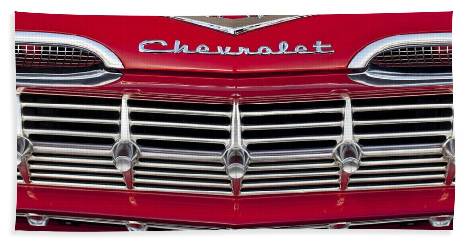 1959 Chevrolet Hand Towel featuring the photograph 1959 Chevrolet Grille Ornament by Jill Reger