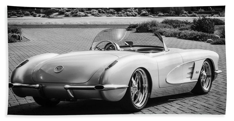 1960 Chevrolet Corvette Bath Sheet featuring the photograph 1960 Chevrolet Corvette -0880bw by Jill Reger