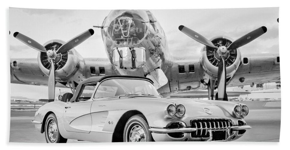 1960 Chevrolet Corvette Bath Sheet featuring the photograph 1960 Chevrolet Corvette - B-17 Bomber by Jill Reger
