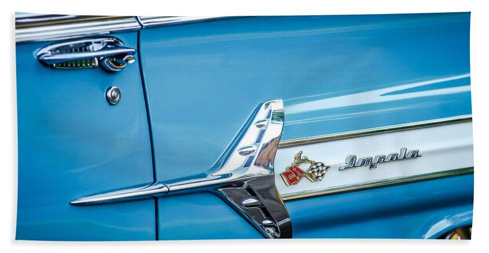 1960 Chevrolet Impala Emblem Bath Sheet featuring the photograph 1960 Chevrolet Impala Emblem -340c by Jill Reger