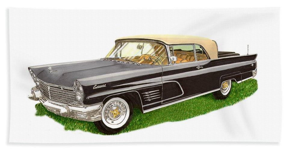 Classic Car Art Bath Sheet featuring the painting 1960 Continental Convertible by Jack Pumphrey