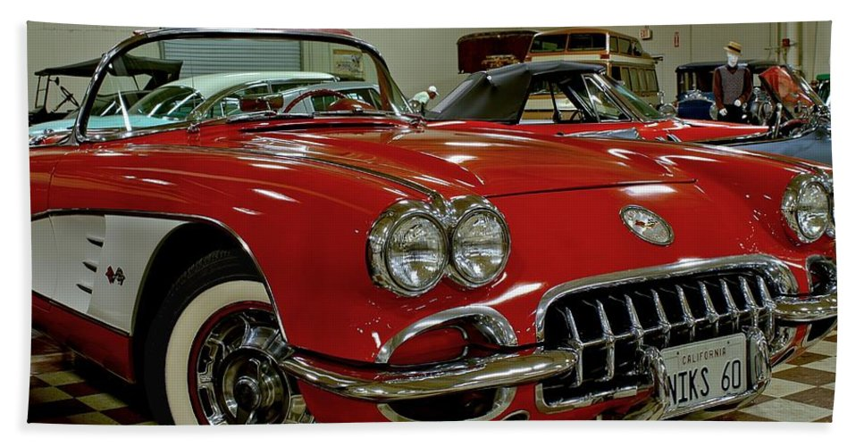 Antique Hand Towel featuring the photograph 1960 Corvette by Michael Gordon