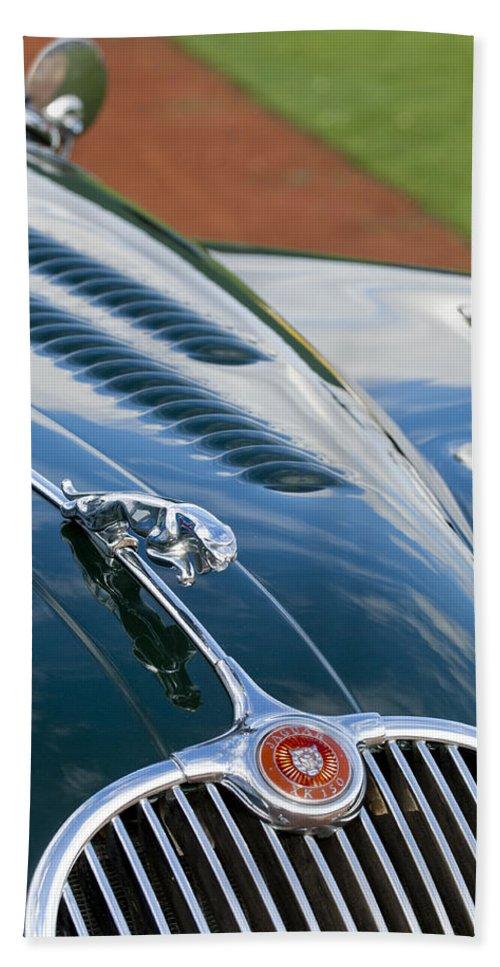 1960 Jaguar Xk 150s Fhc Bath Sheet featuring the photograph 1960 Jaguar Xk 150s Fhc Hood Ornament 3 by Jill Reger