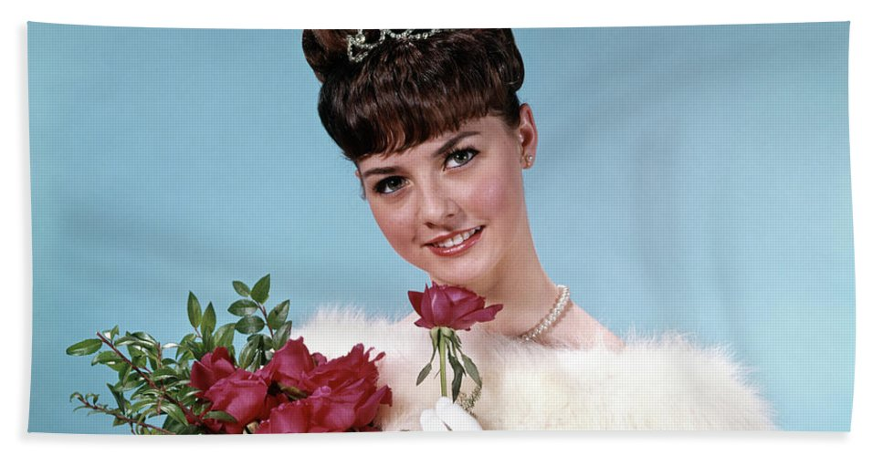 Photography Hand Towel featuring the photograph 1960s Teenage Beauty Queen Holding Red by Vintage Images