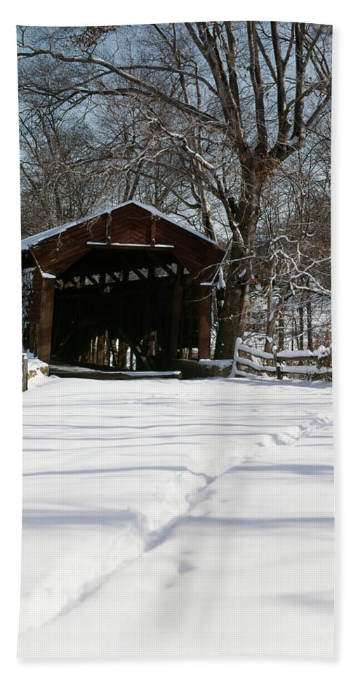 Photography Hand Towel featuring the photograph 1960s Winter Covered Bridge Goshen Road by Vintage Images