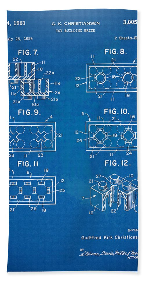 1961 lego brick patent artwork blueprint hand towel for sale by toy hand towel featuring the digital art 1961 lego brick patent artwork blueprint by nikki malvernweather Gallery