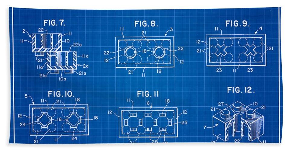 Lego Patent Bath Sheet featuring the digital art 1961 Lego Building Blocks Patent Art 4 by Nishanth Gopinathan