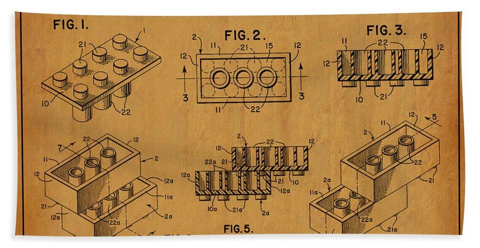 Lego Patent Bath Sheet featuring the digital art 1961 Lego Building Blocks Patent Art 5 by Nishanth Gopinathan