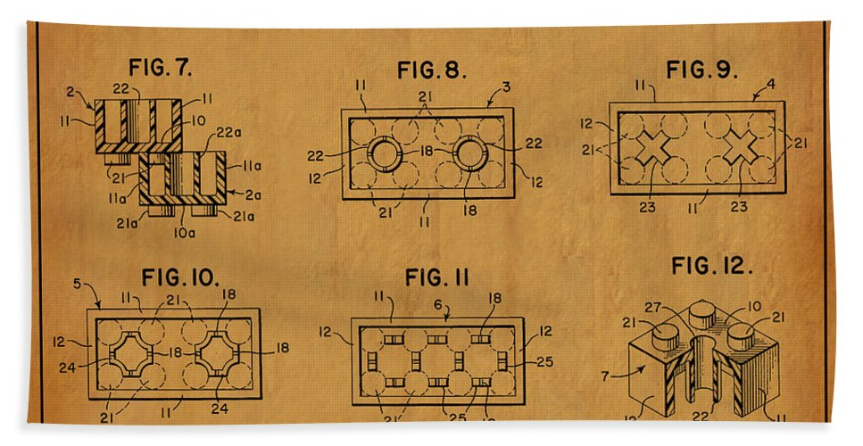 Lego Patent Bath Sheet featuring the digital art 1961 Lego Building Blocks Patent Art 6 by Nishanth Gopinathan
