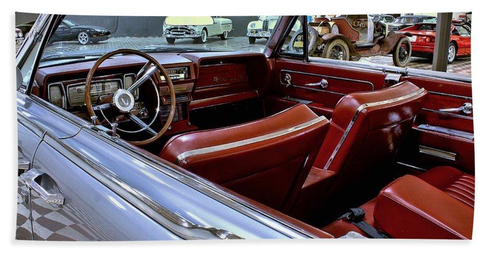1961 Bath Sheet featuring the photograph 1961 Lincoln Continental Interior by Michael Gordon