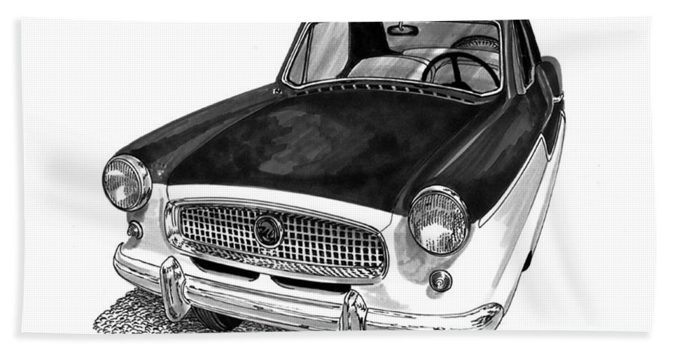 1961 Nash Metro In Black White Hand Towel featuring the painting 1961 Nash Metro In Black White by Jack Pumphrey