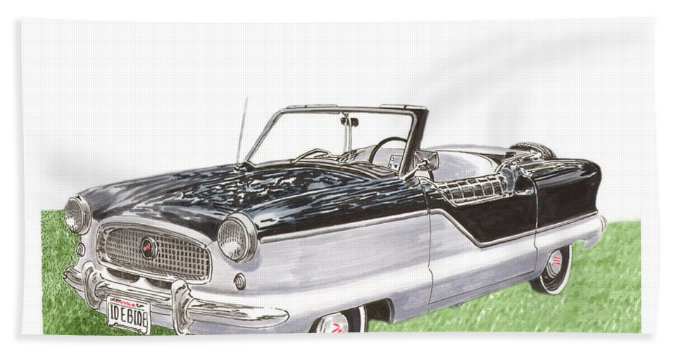 Consider Having Jack Pumphrey Do An Original Watercolor Painting Of Your Car Hand Towel featuring the painting 1961 Nash Metropolitian by Jack Pumphrey