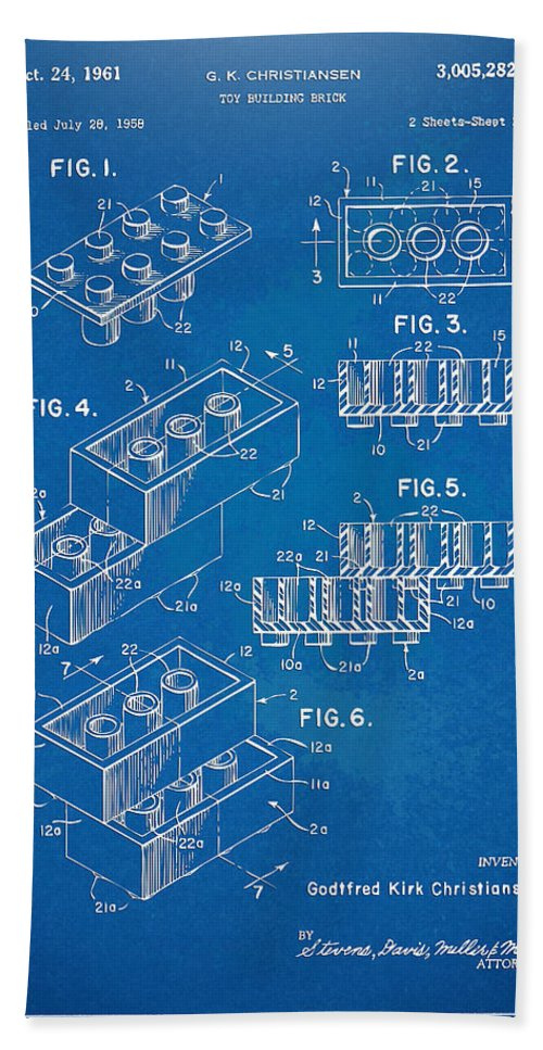 Toy Bath Towel featuring the digital art 1961 Toy Building Brick Patent Artwork - Blueprint by Nikki Marie Smith