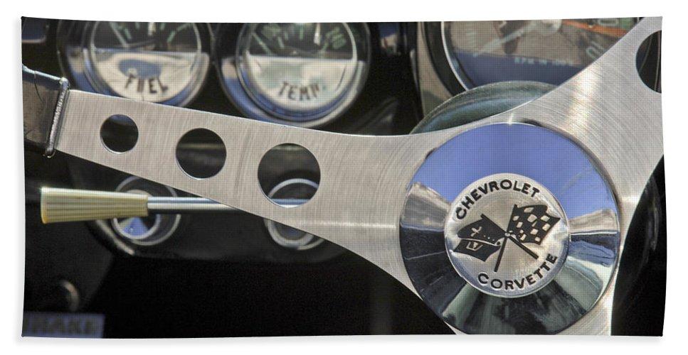 1962 Chevrolet Corvette Convertible Bath Sheet featuring the photograph 1962 Chevrolet Corvette Convertible Steering Wheel by Jill Reger