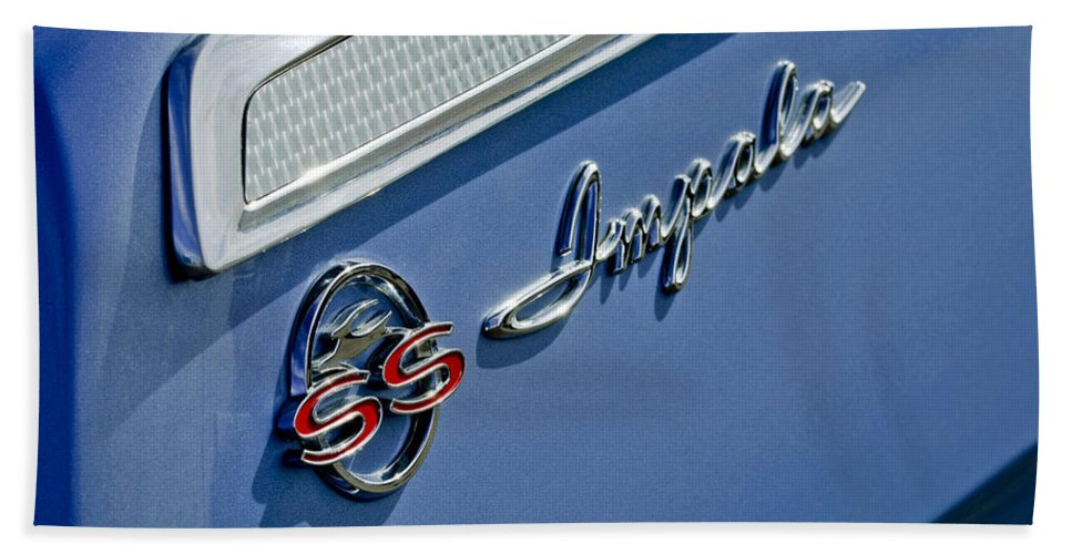 1962 Chevrolet Impala Emblem Bath Sheet featuring the photograph 1962 Chevrolet Impala Emblem by Jill Reger