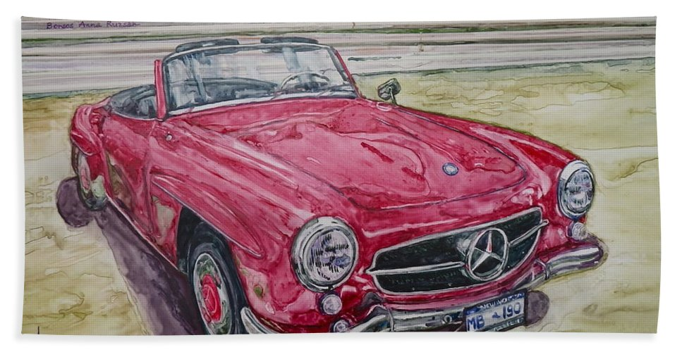 Watercolor Hand Towel featuring the painting 1962 Mercedes Benz 190sl by Anna Ruzsan