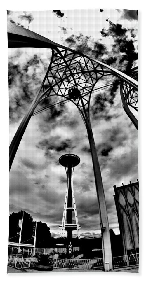 Space Needle Hand Towel featuring the photograph 1962 Seattle by Benjamin Yeager
