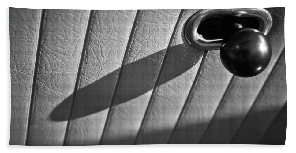 1963 Chevrolet Corvette Split Window Door Latch Bath Sheet featuring the photograph 1963 Chevrolet Corvette Split Window Door Latch -295bw by Jill Reger
