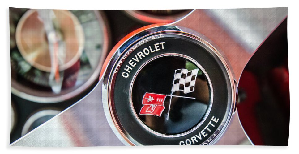1963 Chevrolet Corvette Split Window Steering Wheel Emblem Bath Sheet featuring the photograph 1963 Chevrolet Corvette Split Window Steering Wheel Emblem -170c by Jill Reger