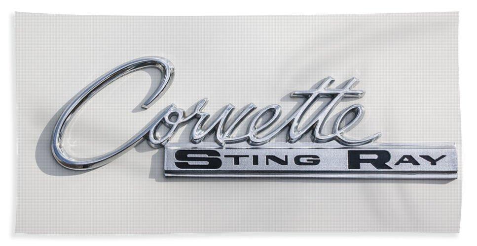 1963 Chevrolet Corvette Split Window - Sting Ray Emblem Hand Towel featuring the photograph 1963 Chevrolet Corvette Split Window - Sting Ray Emblem -252c by Jill Reger