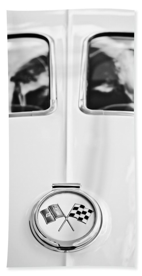 1963 Chevrolet Corvette Split Window Wheel Emblem Bath Sheet featuring the photograph 1963 Chevrolet Corvette Split Window Wheel Emblem -118bw by Jill Reger