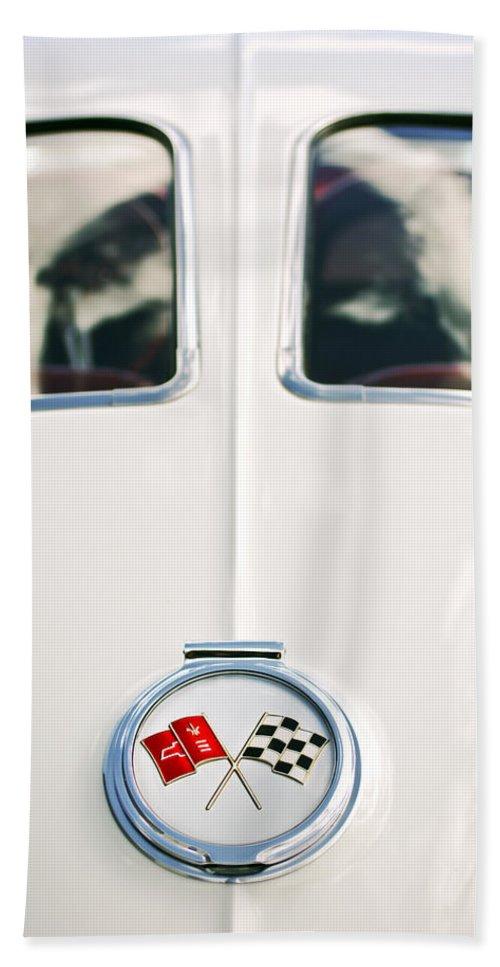 1963 Chevrolet Corvette Split Window Wheel Emblem Hand Towel featuring the photograph 1963 Chevrolet Corvette Split Window Wheel Emblem -118c by Jill Reger