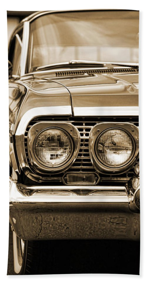 1963 Hand Towel featuring the photograph 1963 Chevrolet Impala Ss In Sepia by Gordon Dean II