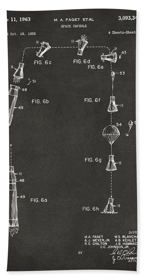 Space Capsule Bath Sheet featuring the digital art 1963 Space Capsule Patent Gray by Nikki Marie Smith