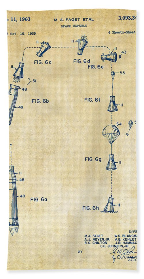 Space Capsule Hand Towel featuring the digital art 1963 Space Capsule Patent Vintage by Nikki Marie Smith