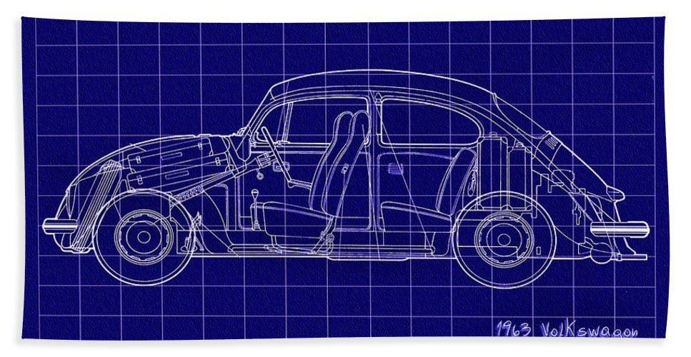 1963 Bath Sheet featuring the digital art 1963 Volkswagon Beetle Blueprint by Bill Cannon
