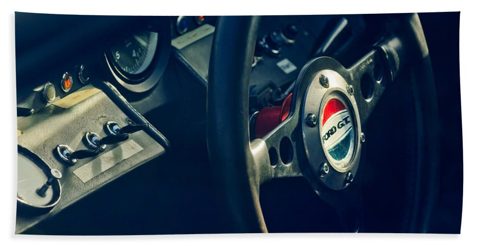 1965 Ford Gt 40 Steering Wheel Emblem Bath Sheet featuring the photograph 1965 Ford Gt 40 Steering Wheel Emblem by Jill Reger