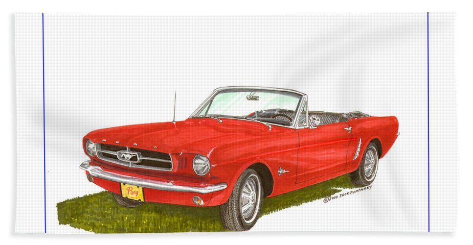 Jackscarart Bath Sheet featuring the painting 1965 Ford Mustang Convertible Pony Car by Jack Pumphrey