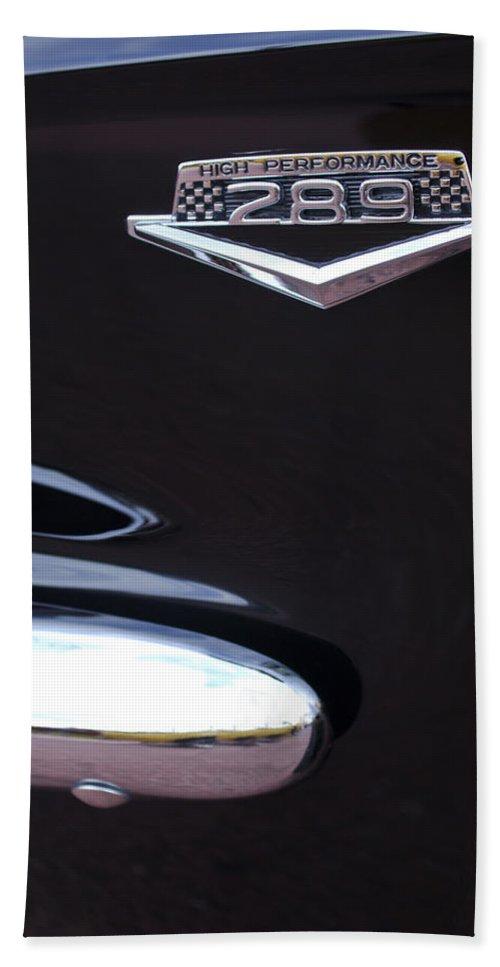1965 Mustang Emblem Bath Sheet featuring the photograph 1965 Ford Mustang Gt 289 Emblem -0309c by Jill Reger