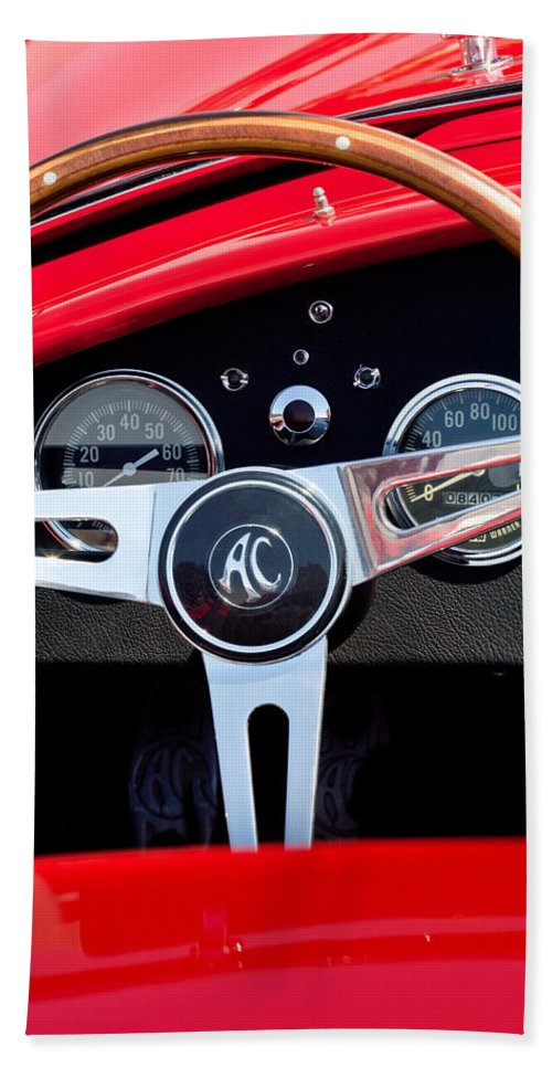 1965 Shelby Ac Cobra Roadster 289 Steering Wheel Emblem Bath Sheet featuring the photograph 1965 Shelby Ac Cobra Roadster 289 Steering Wheel Emblem by Jill Reger