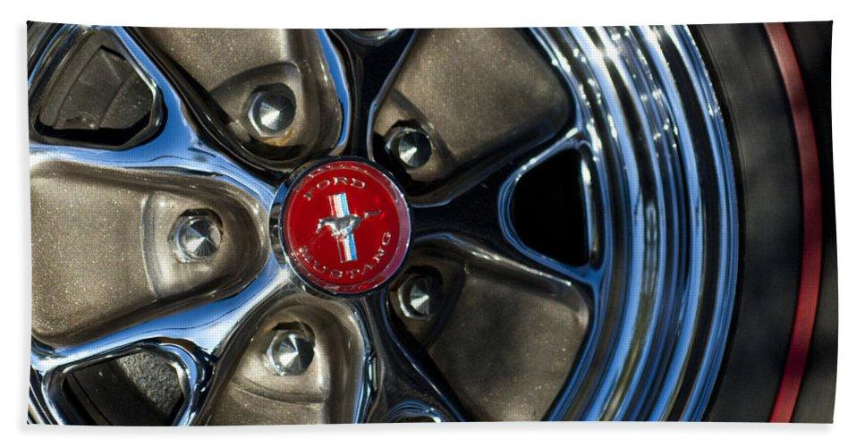 1965 Shelby Prototype Ford Mustang Bath Sheet featuring the photograph 1965 Shelby Prototype Ford Mustang Wheel by Jill Reger