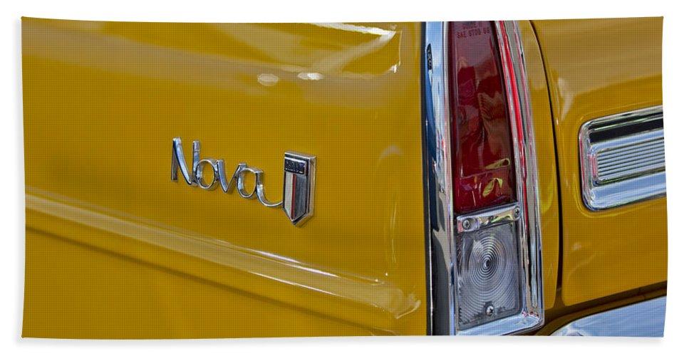 1966 Chevrolet Nova Bath Sheet featuring the photograph 1966 Chevrolet Nova Taillight Emblem by Jill Reger