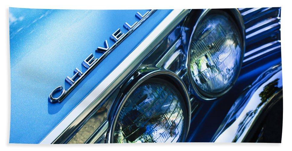 1967 Chevrolet Chevelle Malibu Head Light Emblem Bath Sheet featuring the photograph 1967 Chevrolet Chevelle Malibu Head Light Emblem by Jill Reger