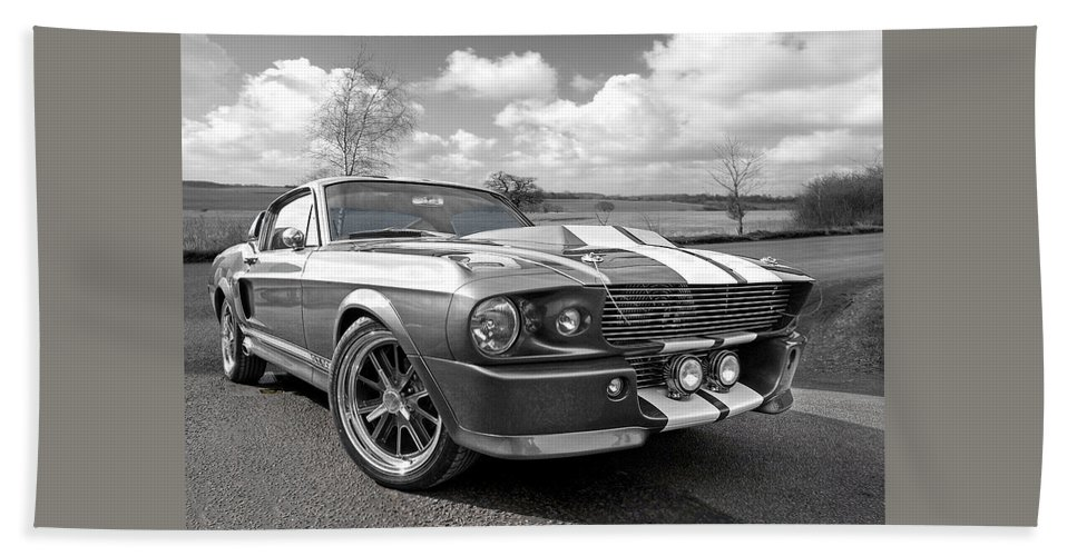 Ford Mustang Hand Towel featuring the photograph 1967 Eleanor Mustang In Black And White by Gill Billington