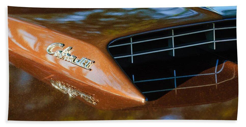 1967 Ford Mustang Cobra Jet Hood Emblem Bath Sheet featuring the photograph 1967 Ford Mustang Cobra Jet Hood Emblem by Jill Reger