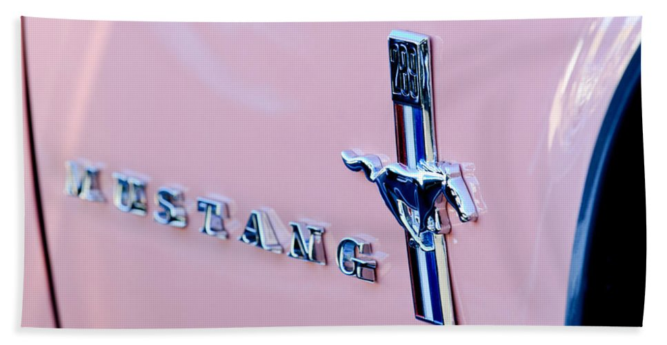 1967 Ford Mustang Side Emblem Bath Sheet featuring the photograph 1967 Ford Mustang Side Emblem by Jill Reger