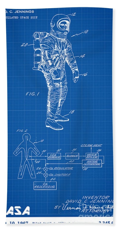 Nasa Bath Sheet featuring the digital art 1967 Nasa Astronaut Ventilated Space Suit Patent Art 1 by Nishanth Gopinathan