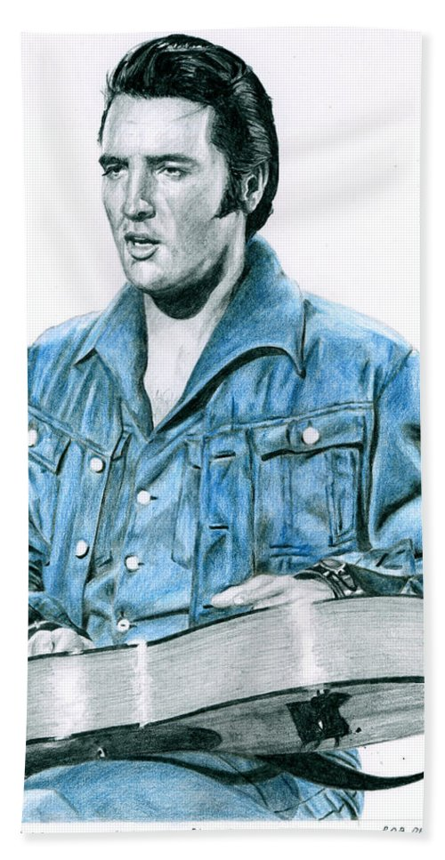 Elvis Hand Towel featuring the drawing 1968 Blue Denim Suit by Rob De Vries