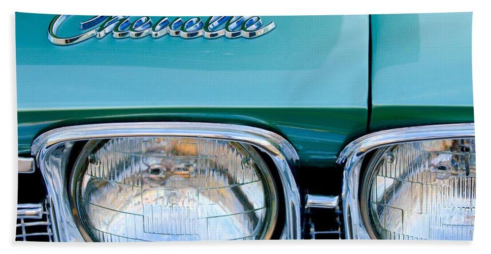1968 Chevrolet Chevelle Emblem Bath Sheet featuring the photograph 1968 Chevrolet Chevelle Headlight by Jill Reger