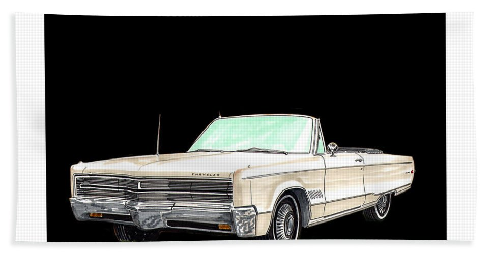 1968 Chrysler 300 Convertible Artwork By Jack Pumphrey Hand Towel featuring the painting 1968 Chrysler 300 Convertible by Jack Pumphrey