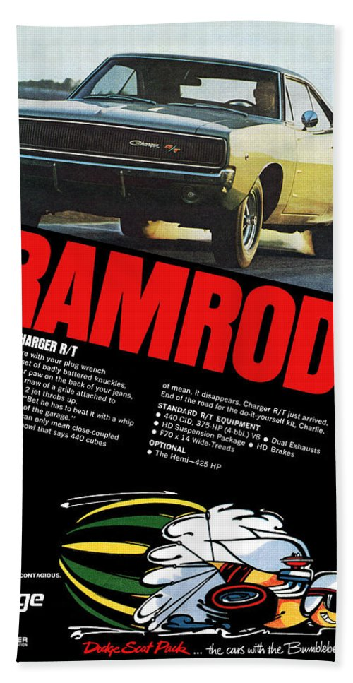 1968 Hand Towel featuring the digital art 1968 Dodge Charger R/t - Ramrod by Digital Repro Depot